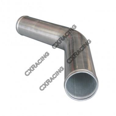 "1.5"" 45 Degree Aluminum Pipe, Mandrel Bent Polished, 1.65mm Thick Tube, 15"" Length"