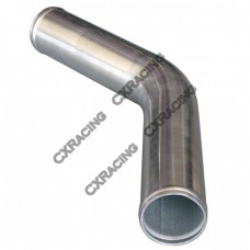 "2.25"" 45 Degree Mandrel Bent Polished Aluminum Pipe, 2.0mm Thick Tube, 18"" Length"