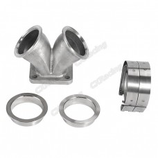 "2.5"" Vband Dual Inlet to Divided T4 Turbo Elbow Adapter Flange + Clamps"