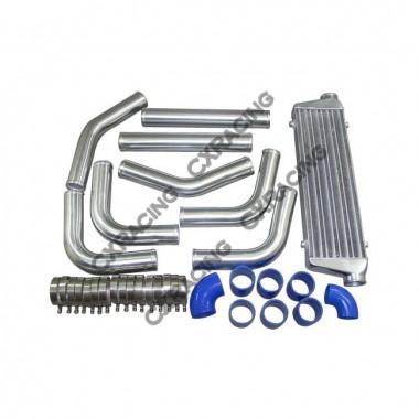 "Universal Blue Couplers 2.5"" Aluminum Piping Kit+ 28x7x2.5 Intercooler"