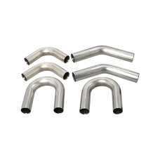 """Universal Stainless Piping Kit 2.5"""" 6 pcs Exhaust Straight 45 90 U Pipe"""