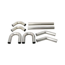 """Universal Stainless Piping Kit 2.5"""" 8 pcs Exhaust Straight 45 90 U Pipe"""