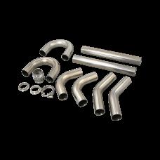 "Universal Stainless Piping Tube  Kit 3"" 8 pcs 45 90 + Exhaust Flex Pipe Vband"