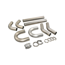 "Universal Stainless Piping Tube  Kit 3"" 8 pcs 90 U + Exhaust Flex Pipe Vband"