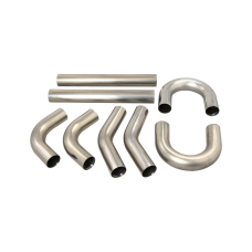 """Universal Stainless Piping Tube  Kit 3"""" 8 pcs Exhaust Straight 45 90 U S Pipe"""