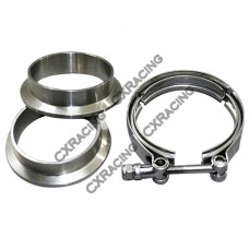 "2.0"" V-Band Clamp + 2.0"" I.D. Flanges (2 Flanges) , 304 Stainless Steel , CNC Billet Flange"