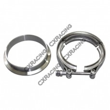 "3.5"" V-Band Clamp + 3.5"" I.D. Flange , 304 Stainless Steel , CNC Billet Flange"