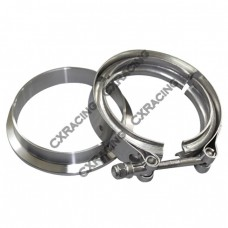 "3.5"" V-Band Clamp + 3.25"" I.D. Flange , 304 Stainless Steel, CNC Billet Flange"
