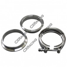 "3.5"" V-Band Clamp + 3.25"" I.D. Flanges (2 Flanges), 304 Stainless Steel , CNC Billet Flange"