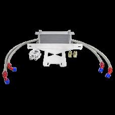 13 Row Oil Cooler + Bracket Kit For 2015+ Ford Mustang EcoBoost I4 2.3T Turbo