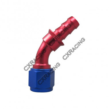8 AN AN8 45 Degree Racing Aluminum Hose End Fitting Push On Lock Oil Adapter