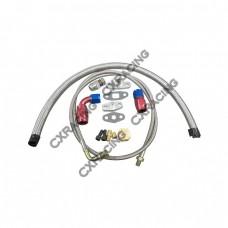 Universal Turbo Oil Line Kit Feed Return Drain Pan Plug 4AN 10AN