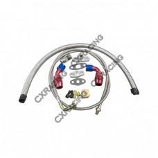 Universal Turbo Oil Line Kit Feed Line + Return Drain For 4AN 10AN T04E Oil Pan Plug