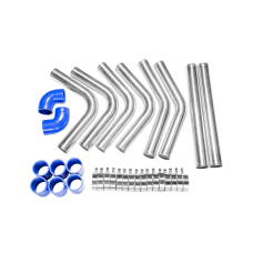 """2"""" Universal Aluminum Piping Kit with 2 Elbow Hoses, Mandrel Bent, Polished, 2.0mm Thick, 18"""" Lenght"""