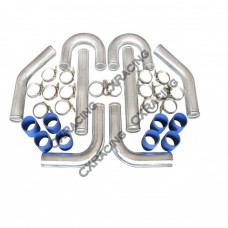 "2"" Universal Aluminum Piping Kit, Mandrel Bent, Polished, 2.0mm Thickness Tube, 18"" Length"