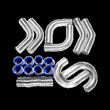 "3"" 8pcs Intercooler Piping Kit 45 75 90 Degree + Blue Hoses + Clamps"