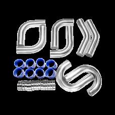 "3"" 8pcs Intercooler Piping 45 90 Deg L J Shape + Blue Hoses + Clamps"