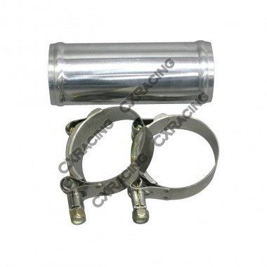 "2"" OD Aluminum Joiner Intecooler Pipe 5"" Long + T-Clamps"