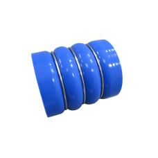 """3.5"""" Blue Straight Silicon Hose Double Hump Coupler 3-Ring Enforced 4 inch Long"""